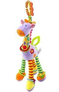 Infant Baby Development Soft Giraffe Animal Handbells Rattles Handle Toys (10 inches, Purple)