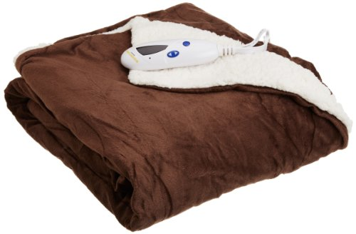 Biddeford 4480-9064114-711 Electric Heated Micro Mink/Sherpa Throw, 50-Inch by 62-Inch, Chocolate