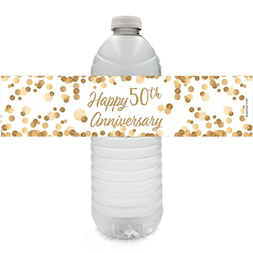Golden 50th Anniversary Party Water Bottle Labels, 24 -