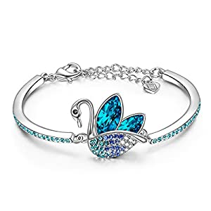 LADY COLOUR Gifts for Women, Swan Animal Designed Adjustable Bangle Bracelet with Crystals Hypoallergenic Jewelry Gift…