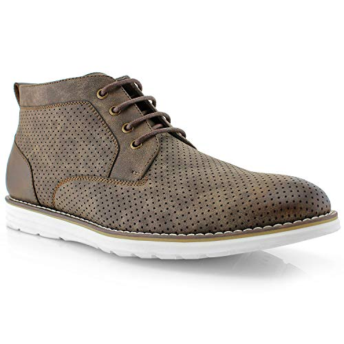 Polar Fox Walker MPX506055A Mens Memory Foam Mid-Top Sneaker Desert Perforated Two-Tone Casual Chukka Boots (9.5 M US, Dark Brown)