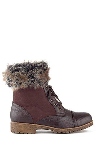 Combat Lace Up Faux Fur Tobillo Cuff Lug Sole Botaies Marrón