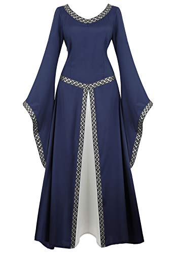Womens Irish Medieval Dress Renaissance Costume Retro Gown Cosplay Costumes Fancy Long Dress Deep Blue-2XL