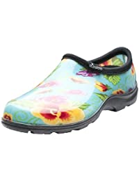 Sloggers 5114TP09 Women's Rain and Garden Shoes with Comfort Insole, Size-9, Pansy Print Turquoise