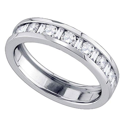 (Jewels By Lux 14kt White Gold Womens Alternating Round Baguette Diamond Single Row Wedding Band 1.00 Cttw In Channel Setting (I1-I2 clarity; H-I color))