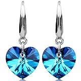 Fashion Women Silver Plated Ear Hook Blue Crystal Rhinestone Earrings Stud LOVE STORY