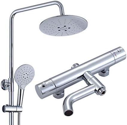 セットの蛇口白いバスルームのシャワーミキサーでハンドシャワーヘッドクロームバスタブ蛇口バスレインシャワーセットシャワー 高圧レインシャワーヘッド (Color : Silver)