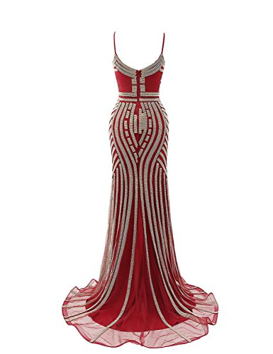 Sheer Dress Neck Belle Mermaid House Women's burgundy Pageant Gown Evening HLX029 Beads Lx116 qwggZt10
