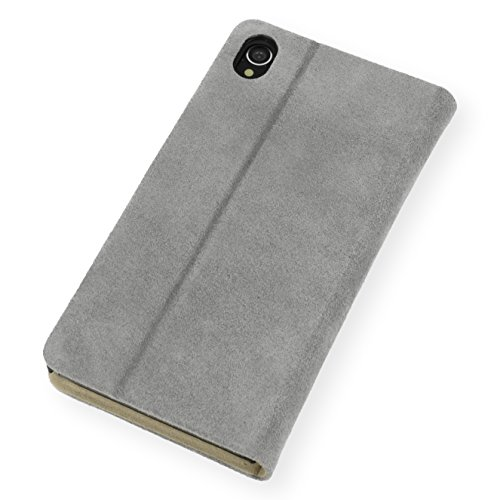 QIOTTI Q. Book Transporteur Premium Étui Livret en cuir véritable pour Sony Xperia Z4–slim en alcantara Bleu pétrole gris