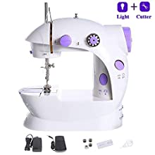 Mini Sewing Machine, Foot Pedal and Two Speeds, Adjustable Double Threads, for Beginner Home Sewing