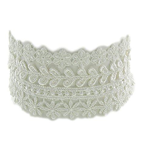 Trendy Vintage Look Stackable White Lace Fabric Chokers