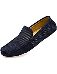 Mens Loafers Casual Boat Shoes Genuine Leather Slip On Driving Moccasins Hollow Out Breathable Flats