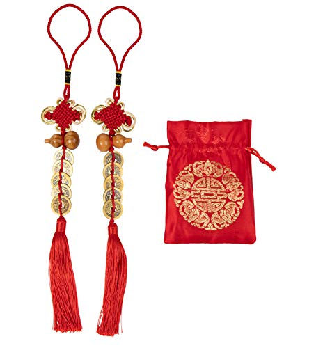 Chinese Feng Shui Coin - 2-Pack Chinese Knot, Feng Shui Lucky Coin with Red Ribbon and Bag, Fortune Coin, for Wealth and Success, Chinese New Year Decoration, 10 Coins, Gourd Design, 14.5 x 2 Inches ()
