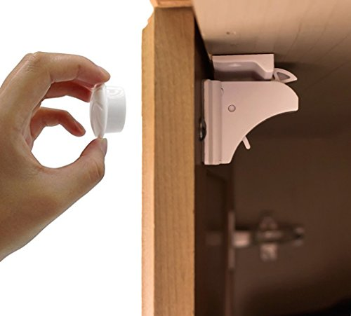 Magnetic Cabinet & Drawer Locks - Drill Free New Improved Design & Optional Screws - Includes 8 Locks + 2 Keys + EXTRA 3M Tape
