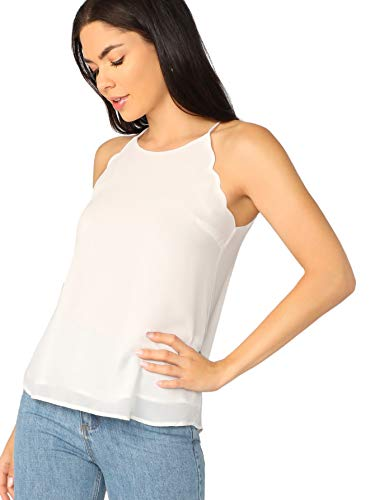 Verdusa Women's Casual Sleeveless Keyhole Back Scallop Halter Cami Top White S