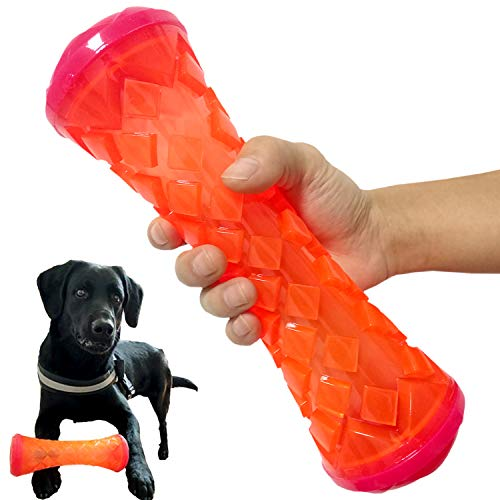 Dogie Lyn Squeaky Tug-of-War Dog Toys,Durable Chew Toys TPR Bone for Aggressive Chewers,Pet Toy Powerful Massage to…