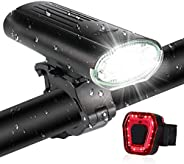 Bike lights 3000mAh Super Bright USB Chargeable Bike Front and Back Light IPX5 Waterproof 6 Modes Aluminum All