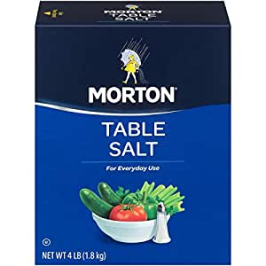 Morton Table Salt, Non-Iodized, 4 Pound Box (Pack of 9)