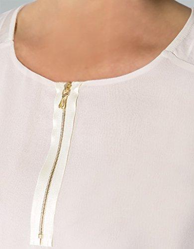 RENÉ LEZARD Damen Bluse Seide Blusenshirt Unifarben, Größe: 38, Farbe: Weiß