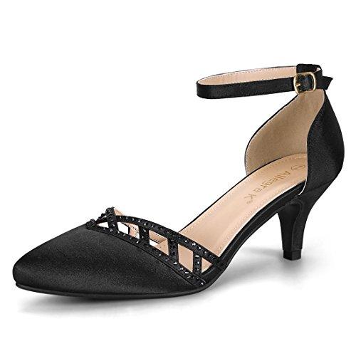 Allegra K Women's Dance Ankle Strap Satin Black Kitten Heels Pumps - 6 M US (High Heel Court Shoes With Ankle Strap)