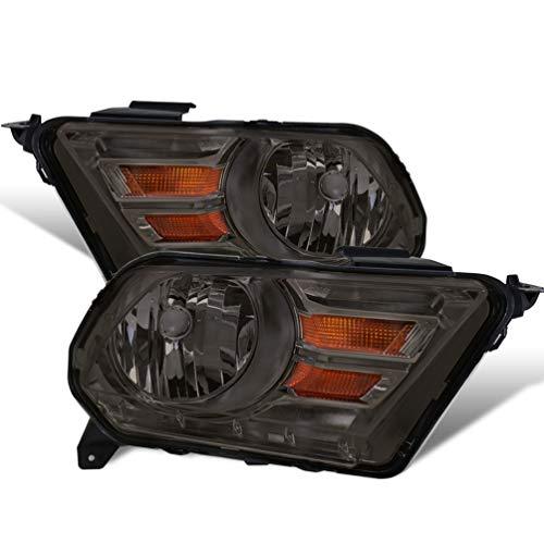 (For 10-14 Ford Mustang Pair Smoke Pair Headlights Headlamps Amber Turn Signal Reflector)