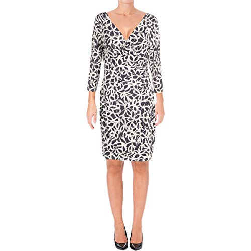 - LAUREN RALPH LAUREN Womens Petites Matte Jersey Printed Casual Dress White 2P