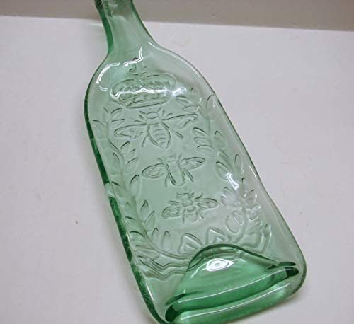Queen Honey Bee Embossed Shallow Bowl UpCycled Green Tint Wine Bottle