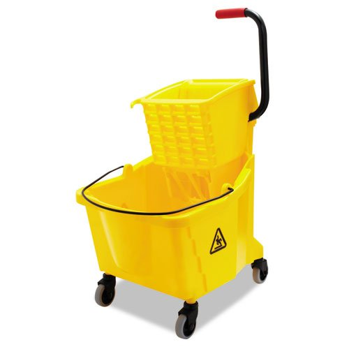 UNISAN Pro-Pac Side-Squeeze Wringer/Bucket Combo, 8.75 gal, Yellow - Includes one each. - Side Squeeze Wringer