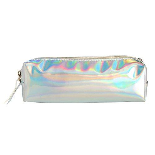 Kekailu Portable Makeup Bag Hologram Holographic Laser Pencil Bag Makeup Pouch Case Student School Supplies - Silver