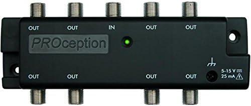 Proception Amplificador de Antena Digital de 8 vías para Interiores con Fuente de alimentación PROPSU11F para TV