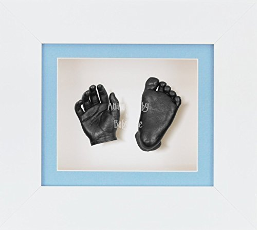 BabyRice 3D Baby Boy Casting Kit White Frame Pewter Foot Casts by BabyRice