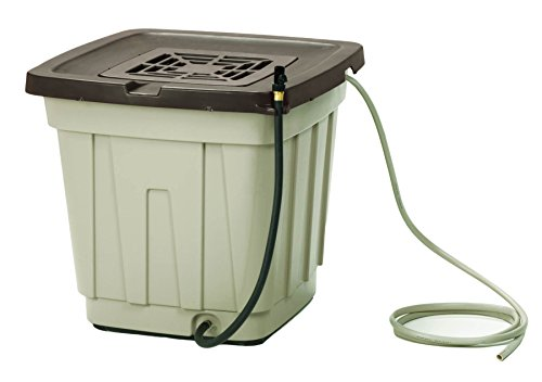 Suncast 50 Gallon Rain Barrel with Hose - Durable Resin Rain Barrel - Holds and Catches Rain Water - Taupe