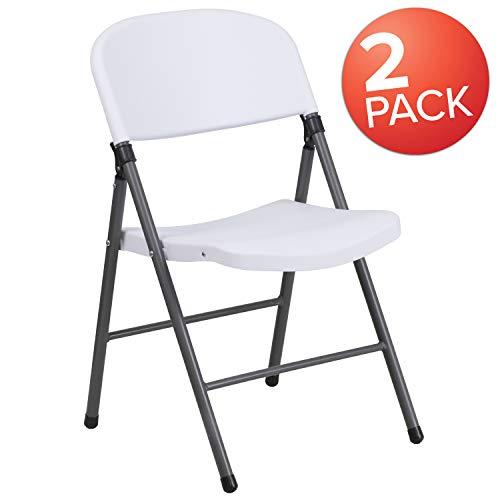 - Flash Furniture 2 Pk. HERCULES Series 330 lb. Capacity Granite White Plastic Folding Chair with Charcoal Frame