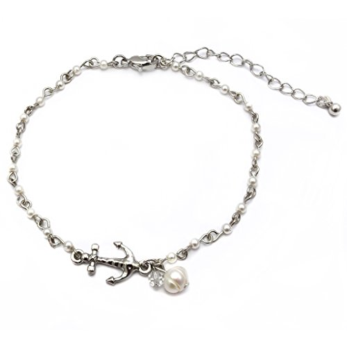 Anchor Charm and Freshwater Pearl Bead Link Anklet