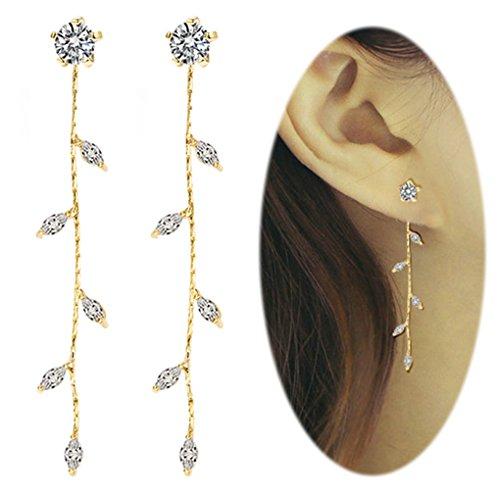Leaf Chandelier Dangle Earrings Ear Studs Tassel Crawler Earrings Cuff Climber Rhinestone Pierced Clip on Jewelry Golden Plated