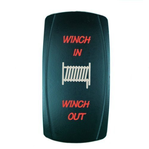 OctagonStar 7Pin Laser Red Momentary Rocker Switch Winch In/Out 20A 12V (On)-Off-(On) LED Light (Winch Switch)
