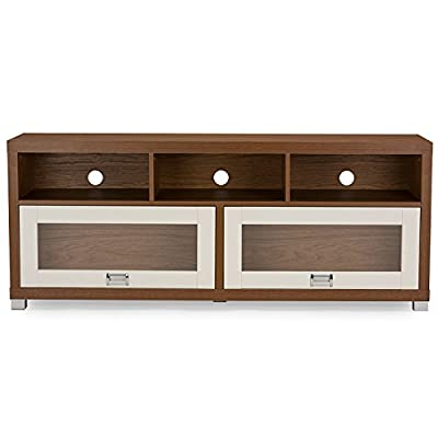 Baxton Studio Chantile Modern White and Walnut TV Stand with Glass Doors - Contemporary TV stand Lapped chipboard paper Wood effect veneer 2 sliding overhead style doors with glass panels - tv-stands, living-room-furniture, living-room - 41d5HwdjX5L. SS400  -