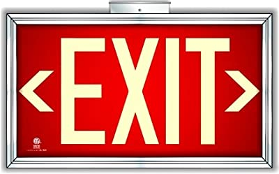 Photoluminescent Exit Sign Red - Framed Flag/Ceiling Mount (Includes Removable Arrows)