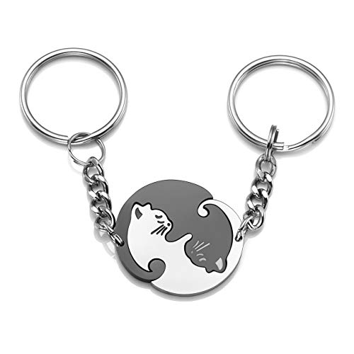 Jovivi 2pcs Stainless Steel Couples Keychains Black White Cat Puzzle Piece Matching Couple Keychain Set Yin Yang Matching Puzzle Keychain His & Her Lover Gift (Animal Friends Keychain)
