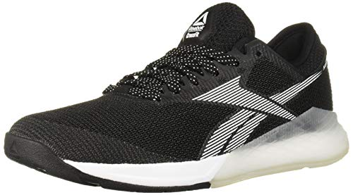Reebok Women's Nano 9 Cross Trainer, Black/White/Silver, 5 M US