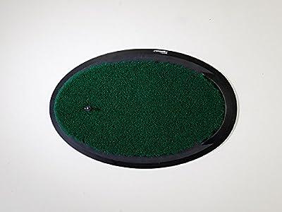"Fiberbuilt Flight Deck Golf Hitting Mat - Oval Shape Outdoor/ Indoor Real Grass-Like Performance Golf Mat with Durable Adjustable Height Tee, Black/Green, 21.25"" x 13.5"" x 1.75"""