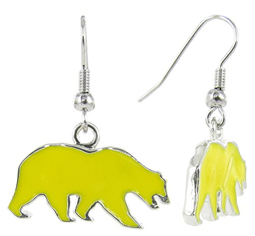 RhinestoneU NCAA California Golden Bears UC Berkeley Walking Bear Logo Dangle Hook Earrings with Golden Yellow Enamel, One Size -