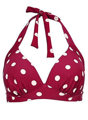 Balasami Women's Retro 50s Plaid Pattern Polka Dot Halter Molded Soft Pads Vintage Bikini Swimsuits Tops (L, Burgundy Polka Dot) for $<!--$15.99-->