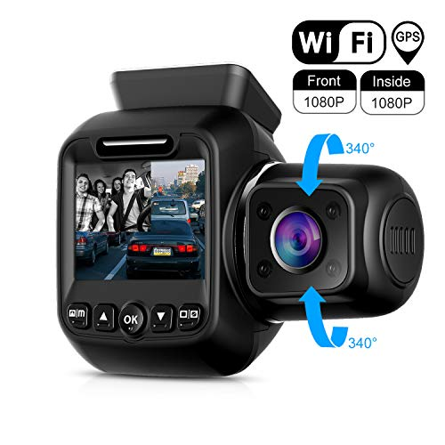 Upgraded Pruveeo P3 Dash Cam with Infrared Night Vision, Built-in GPS, WiFi, Dual 1080P Front and Inside, Dash Camera for Cars Uber Lyft Truck Taxi (Best Taxi App In Usa)
