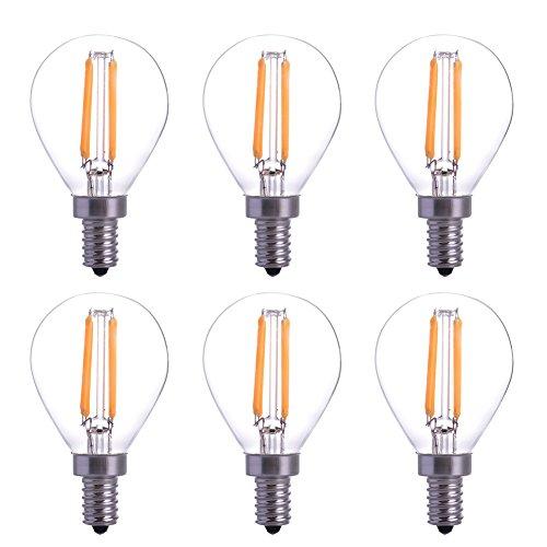 YT 6Pcs/lot LED Filament Candle Light Bulb Replace Incandescent 40W Bulb Soft White 2700K 360 Degree Beam Angle for Home,Restaurant,Droplight,Wall lamp E12 Socket YT-G45-17
