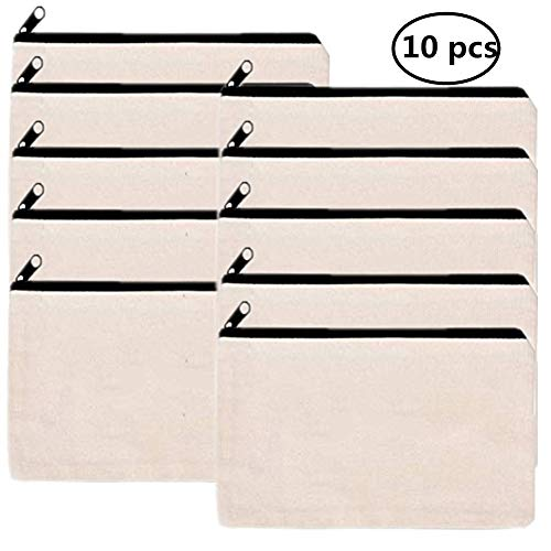 10 PCS Canvas Makeup Bag Cosmetic Pouch, Large Blank Travel toiletry Zipper Bag-Beige