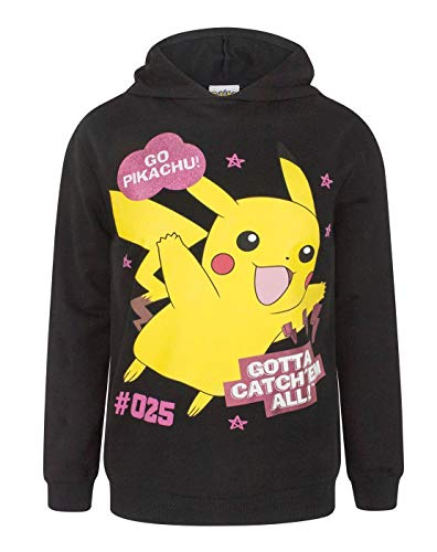 Go Pikachu Official 'Gotta Catch 'Em All Girl's Hoodie (9-10 Years) Black -