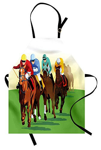 Lunarable Horse Apron, Vibrant Colorful Competitive Scene with Jockeys Racing Horses Equine Retro Artwork, Unisex Kitchen Bib Apron with Adjustable Neck for Cooking Baking Gardening, -