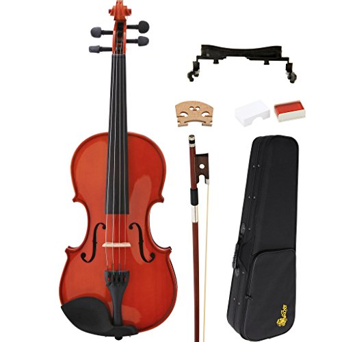 Kaizer Violin Acoustic Full Size 4/4 Classic Solid Wood with Hard Case Shoulder Rest Bow Rosin and Strings VLN-350VA by Kaizer