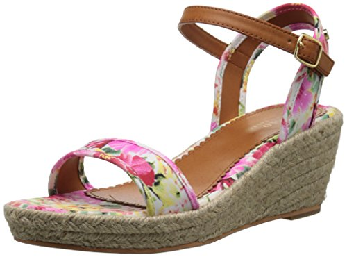 Polo Ralph Lauren Kids Carmen P W/Jute Fashion Wedge Sandal (Little Kid/Big Kid), Pink Floral, 13 M US Little Kid